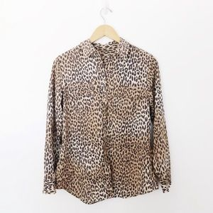 Vintage Leopard Print Button Down Shirt SzL